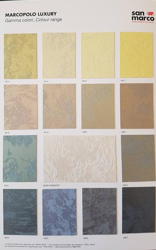 Paleta De Culori Tencuiala Decorativa.Vopsea Decorativa Metalizata Pentru Interior Marcopolo Luxury