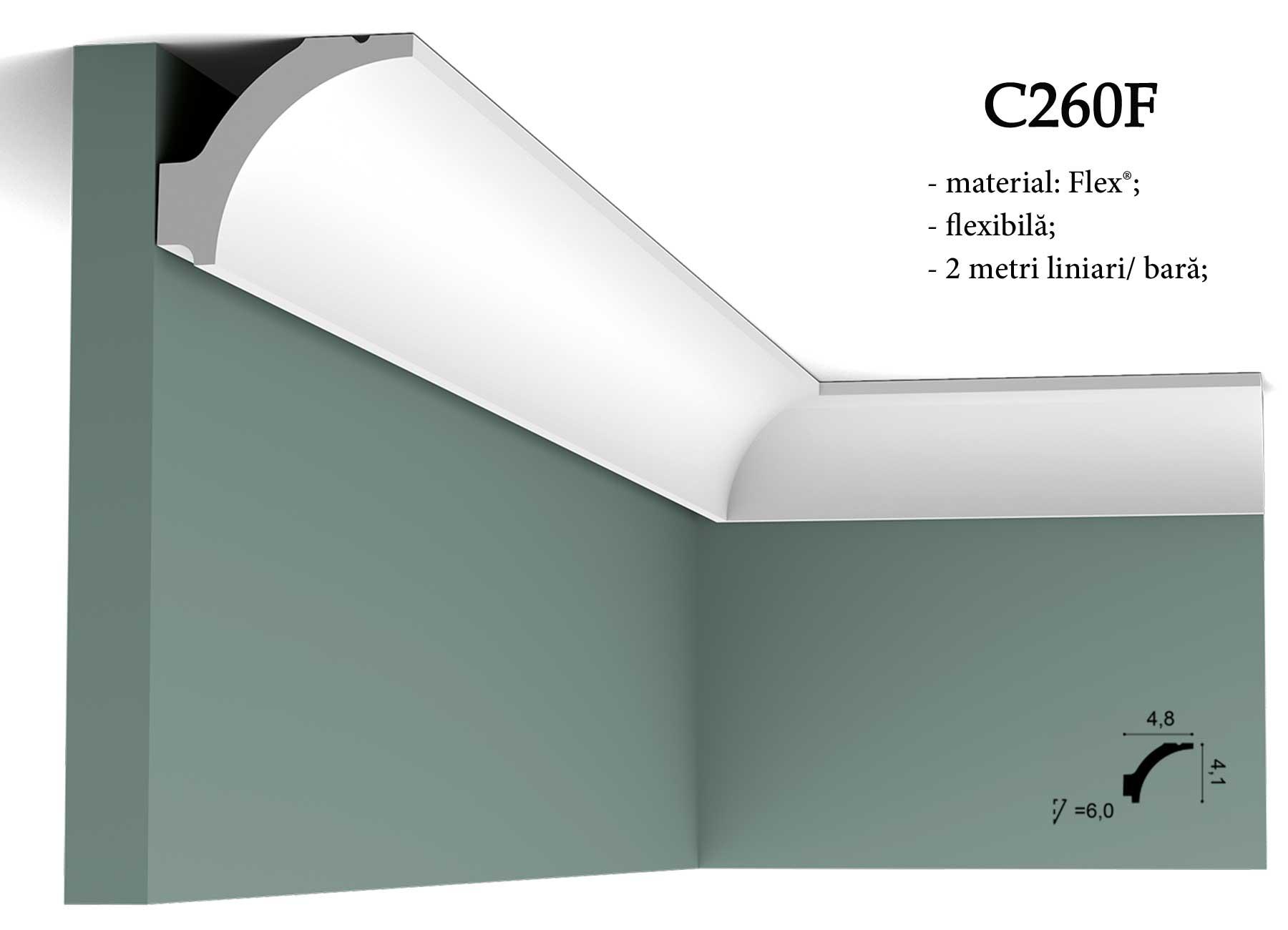 Cornisa C260F decorativa pentru tavan Orac Decor.