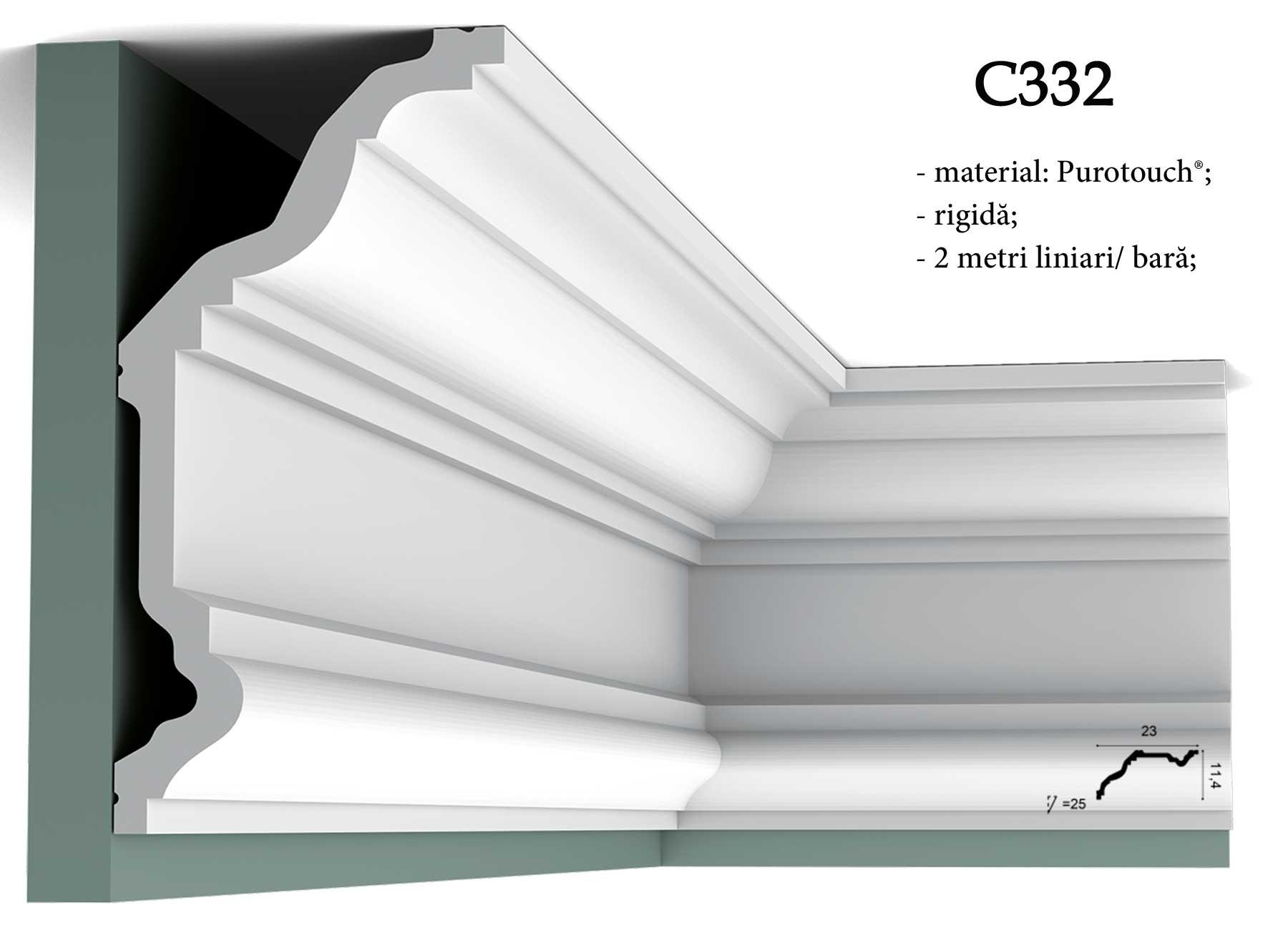 Bagheta alba inalta pentru tavan Orac Decor C332