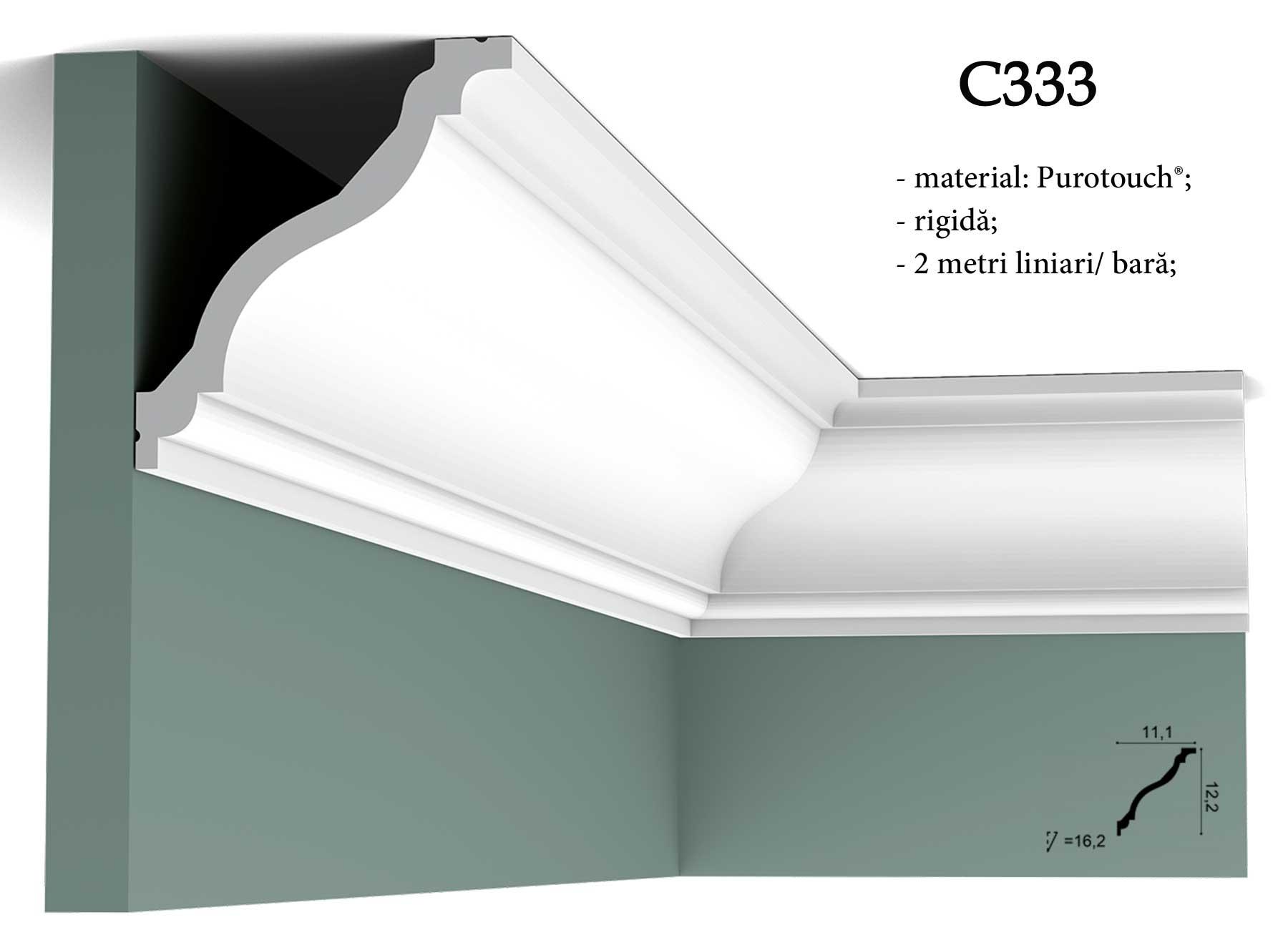 Cornisa alba din purotouch pentru tavan Orac Decor C333
