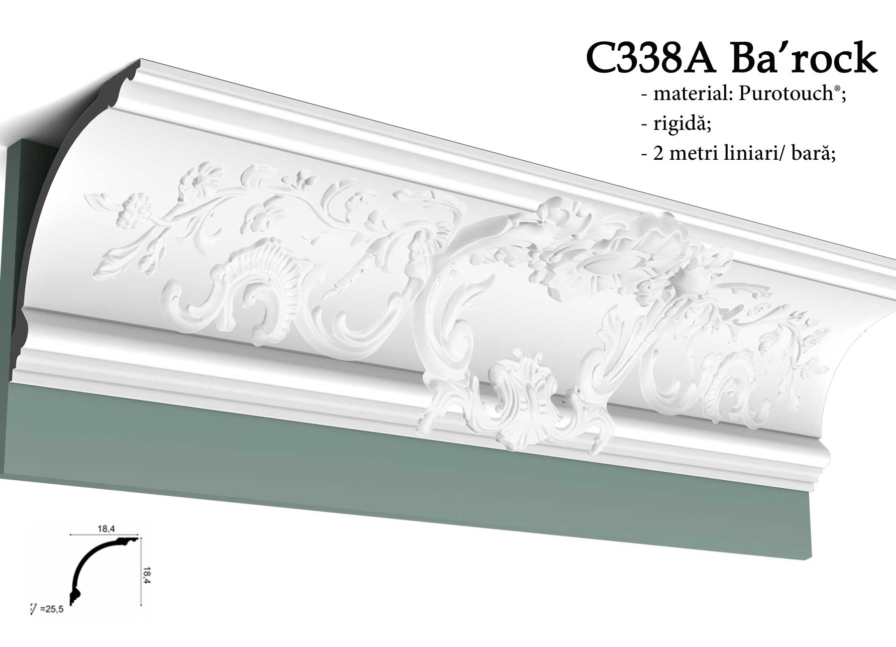 Cornisa baroc pentru tavan Orac Decor C338A