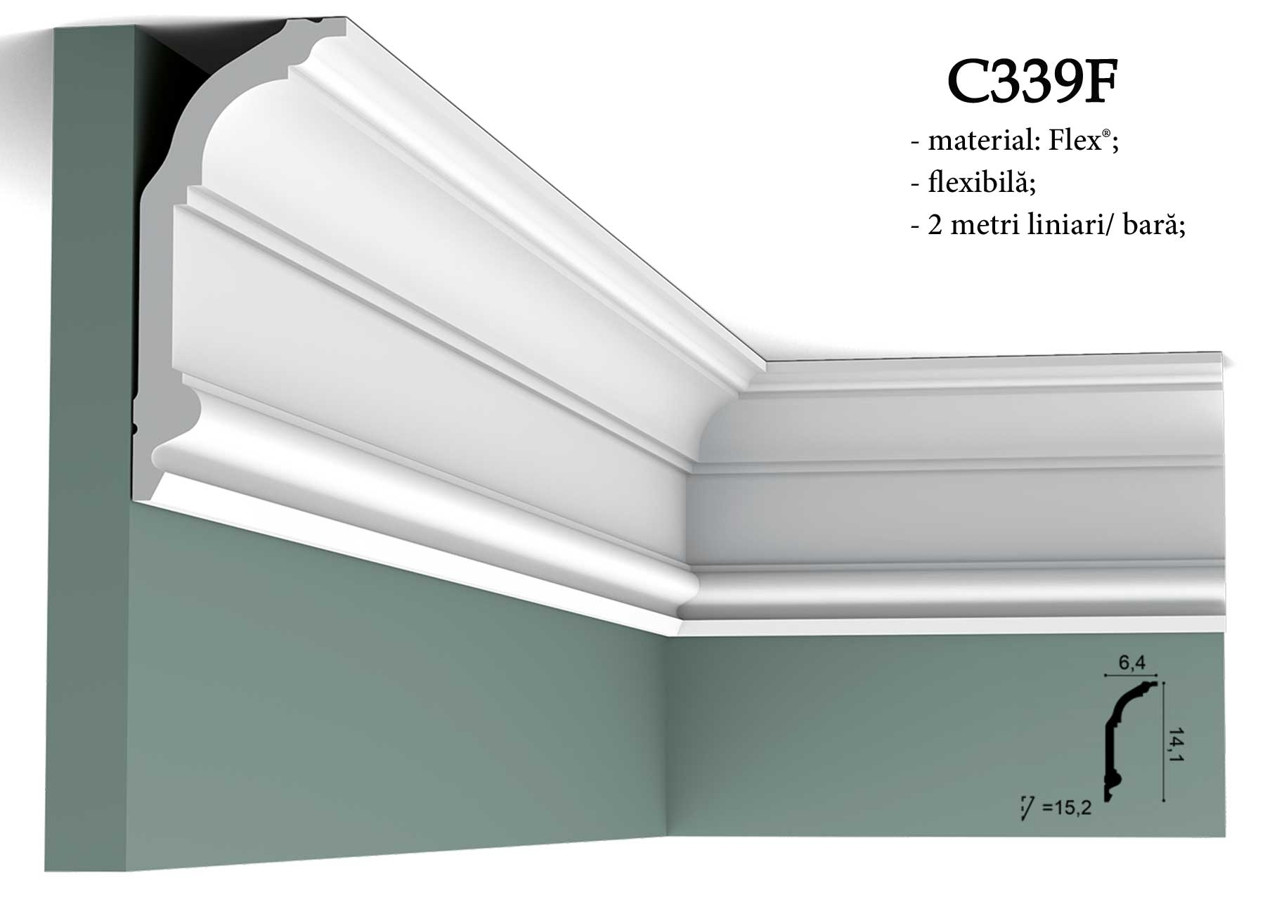 Cornisa flexibila pentru tavan Orac Decor C339F