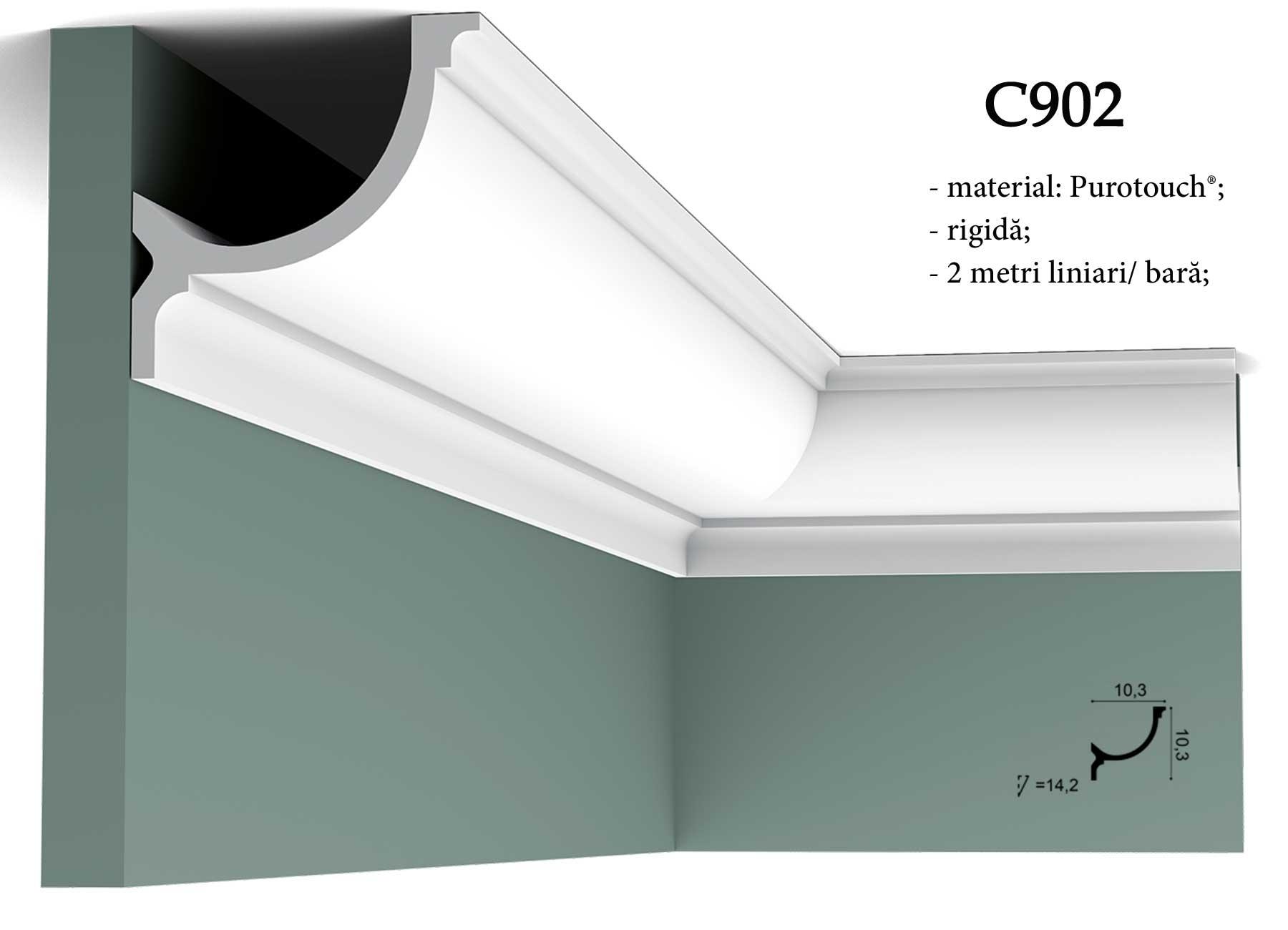Cornisa decorativa pentru tavan Orac Decor. Terminatie perete C902