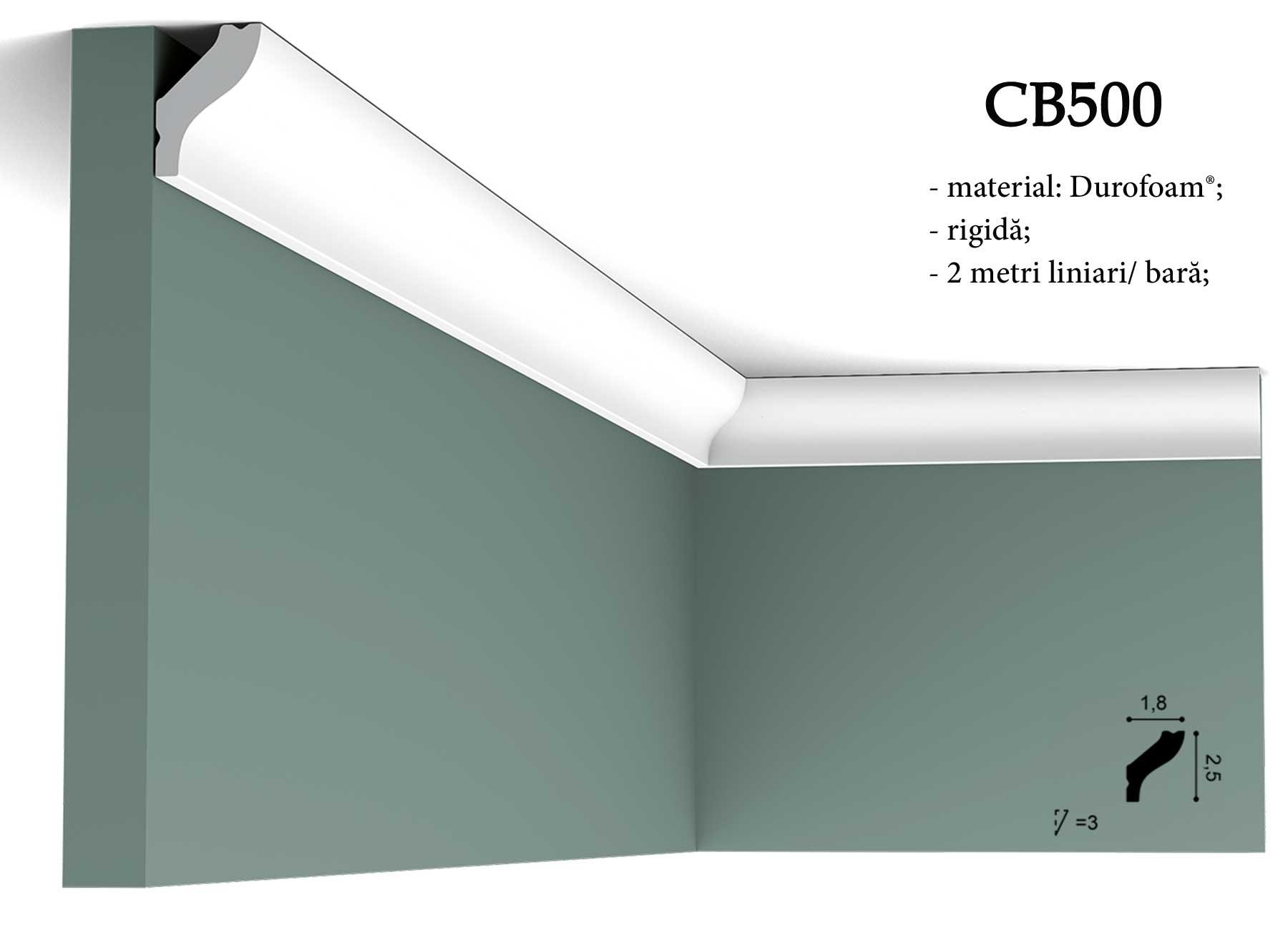 Cornisa decorativa pentru tavan Orac Decor. Terminatie perete CB500
