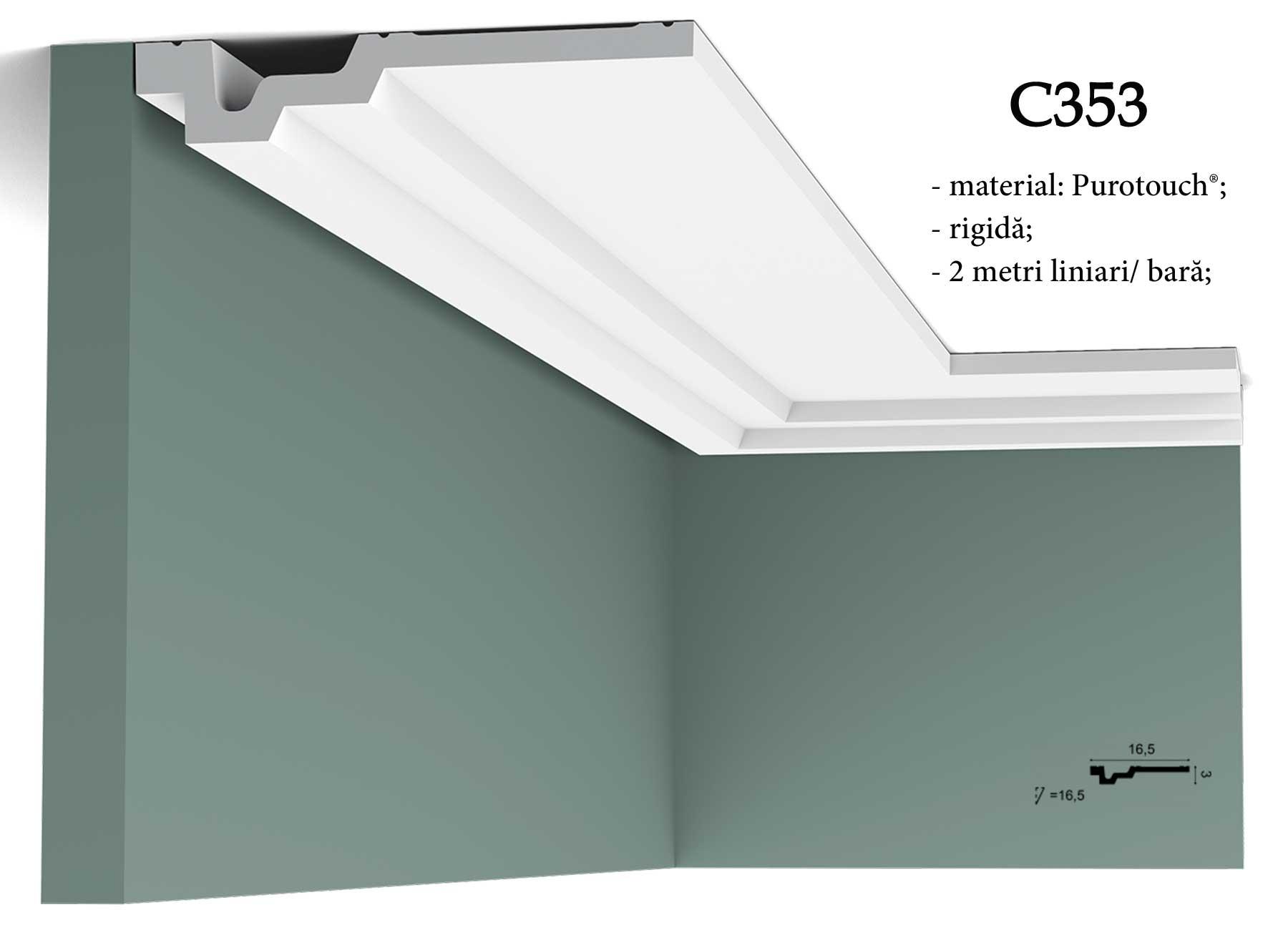 Cornisa decorativa pentru tavan Orac Decor. Terminatie perete C353