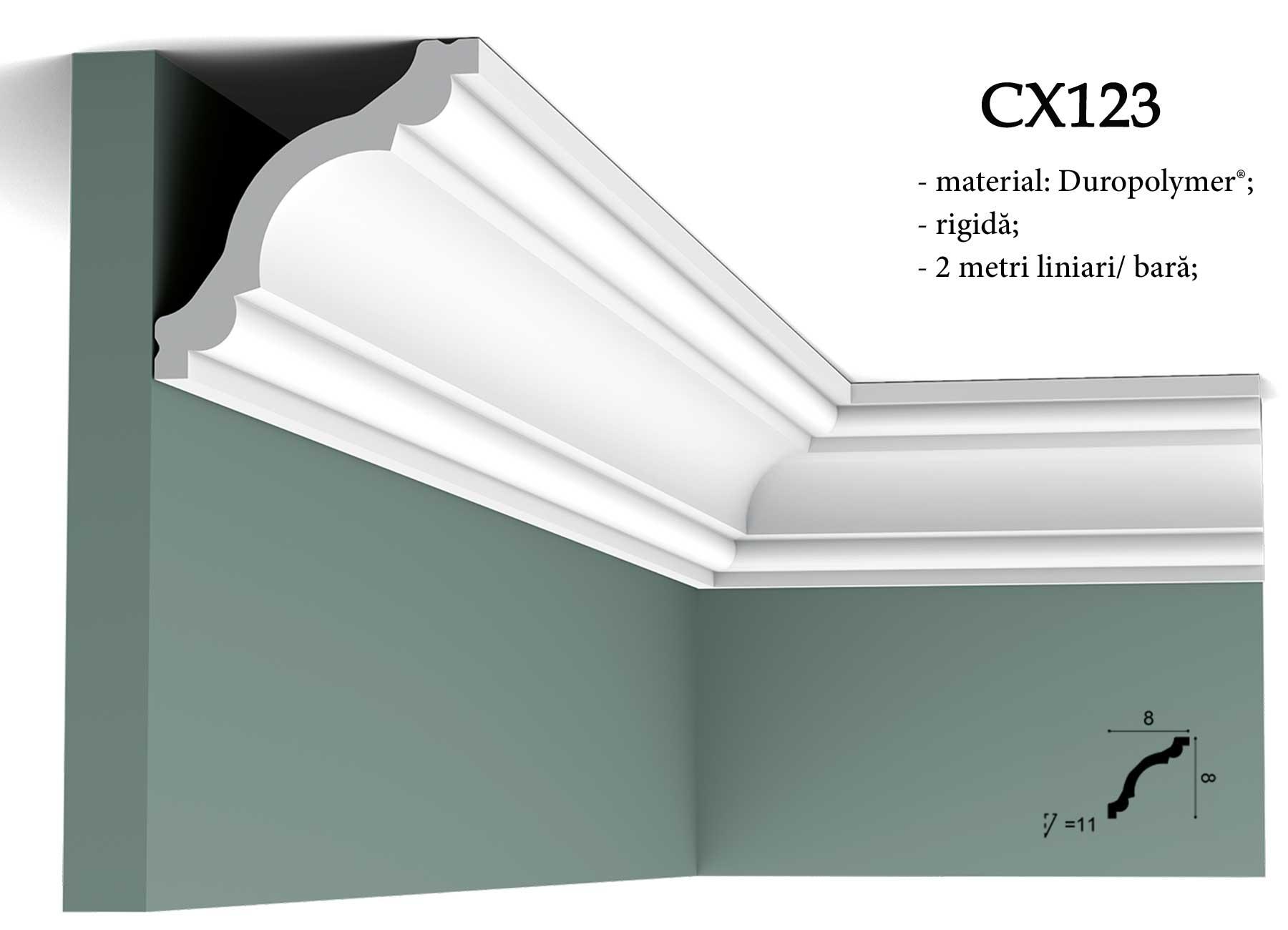 Cornisa decorativa pentru tavan Orac Decor CX123. Terminatie perete.