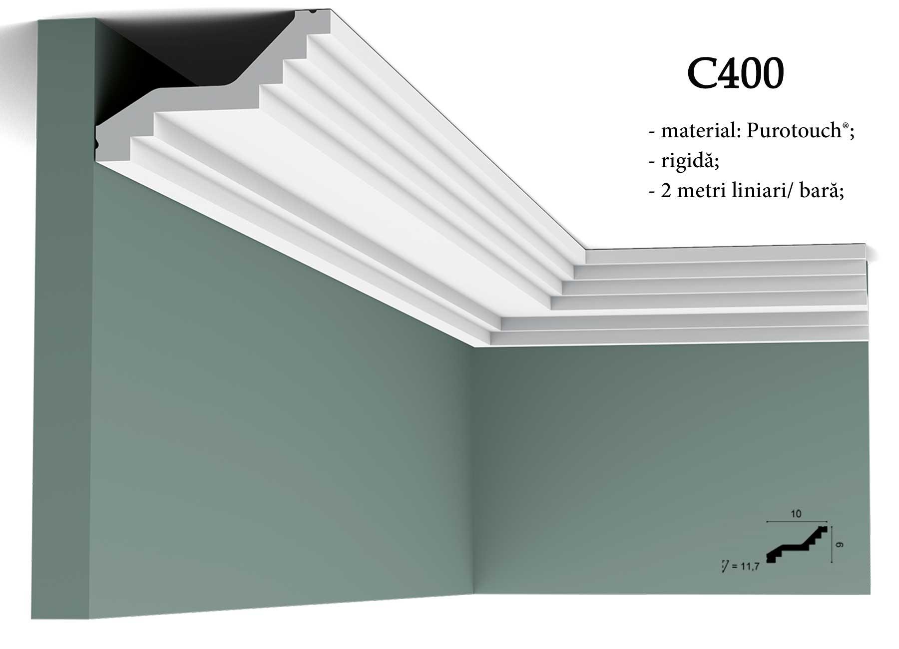 Profil decorativ pentru tavan Orac Decor C400. erminatie tapet.