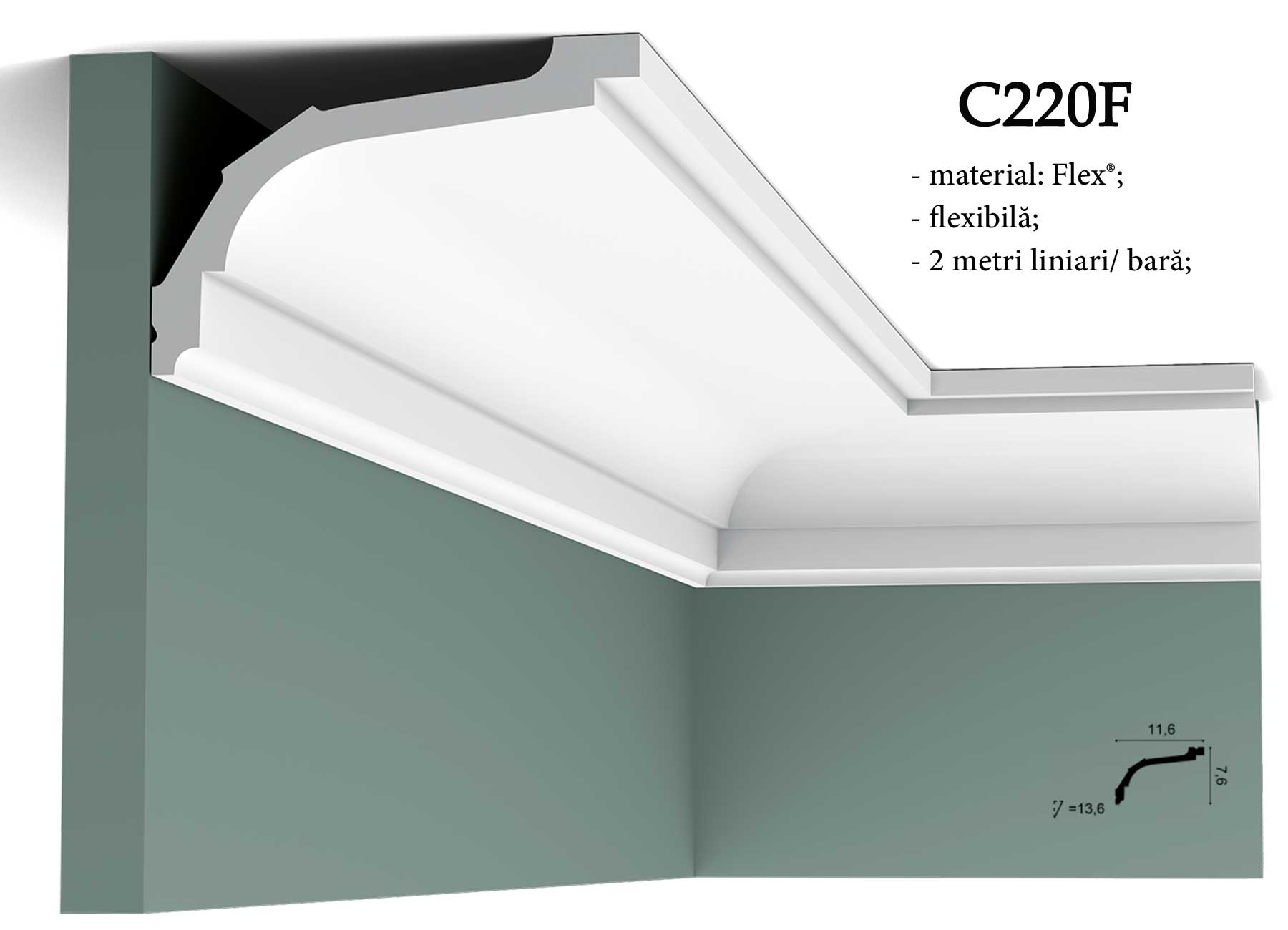 Cornisa flexibila C220F pentru tavan Orac Decor.