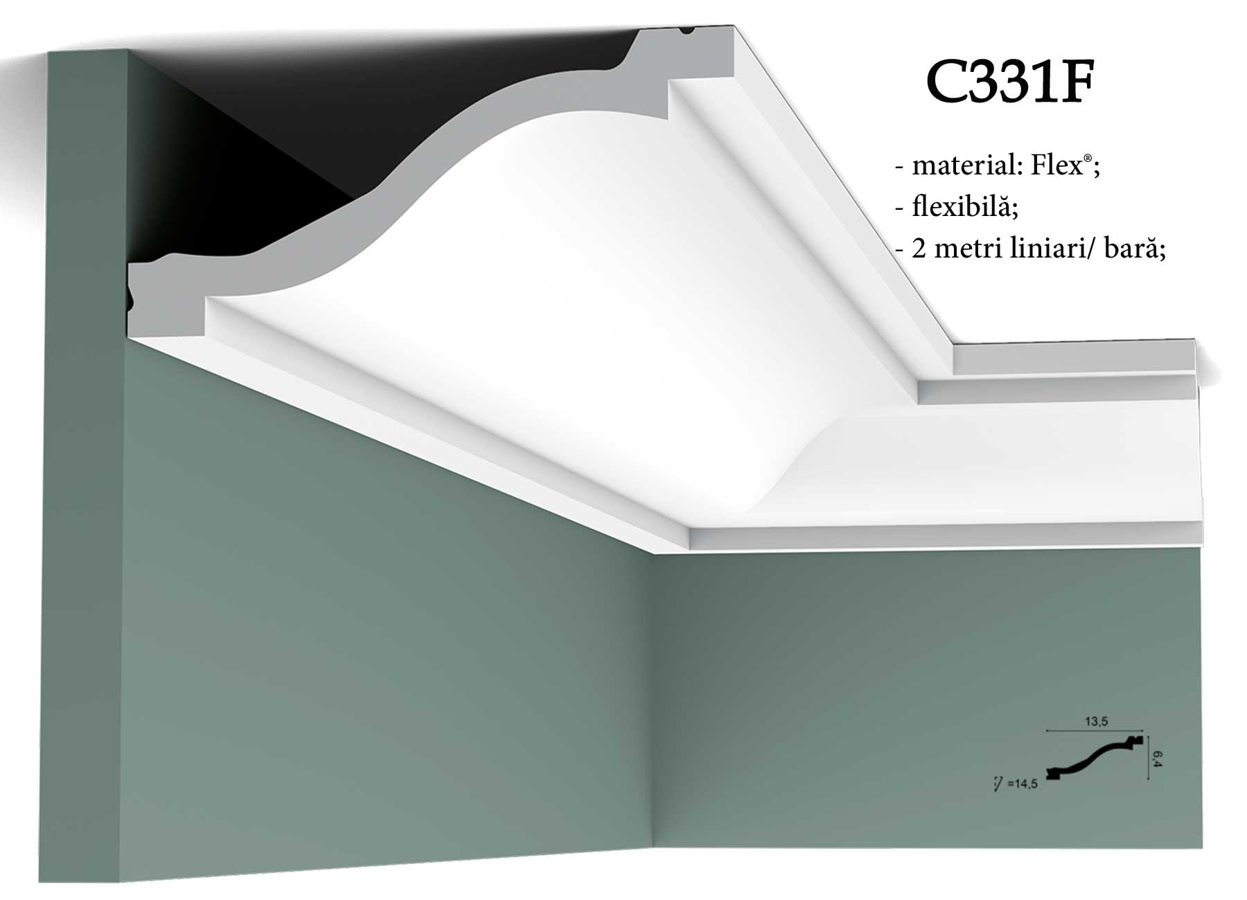 Cornisa flexibila pentru tavan Orac Decor C331F
