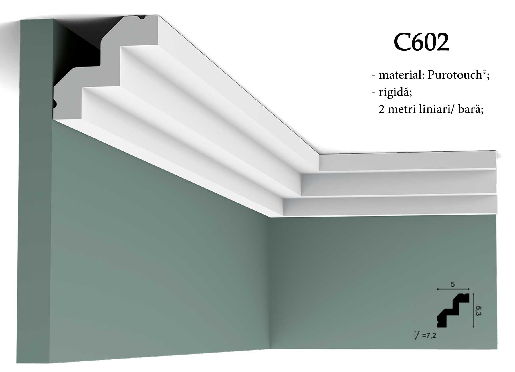C602 Cornisa decorativa pentru tavan Orac Decor.