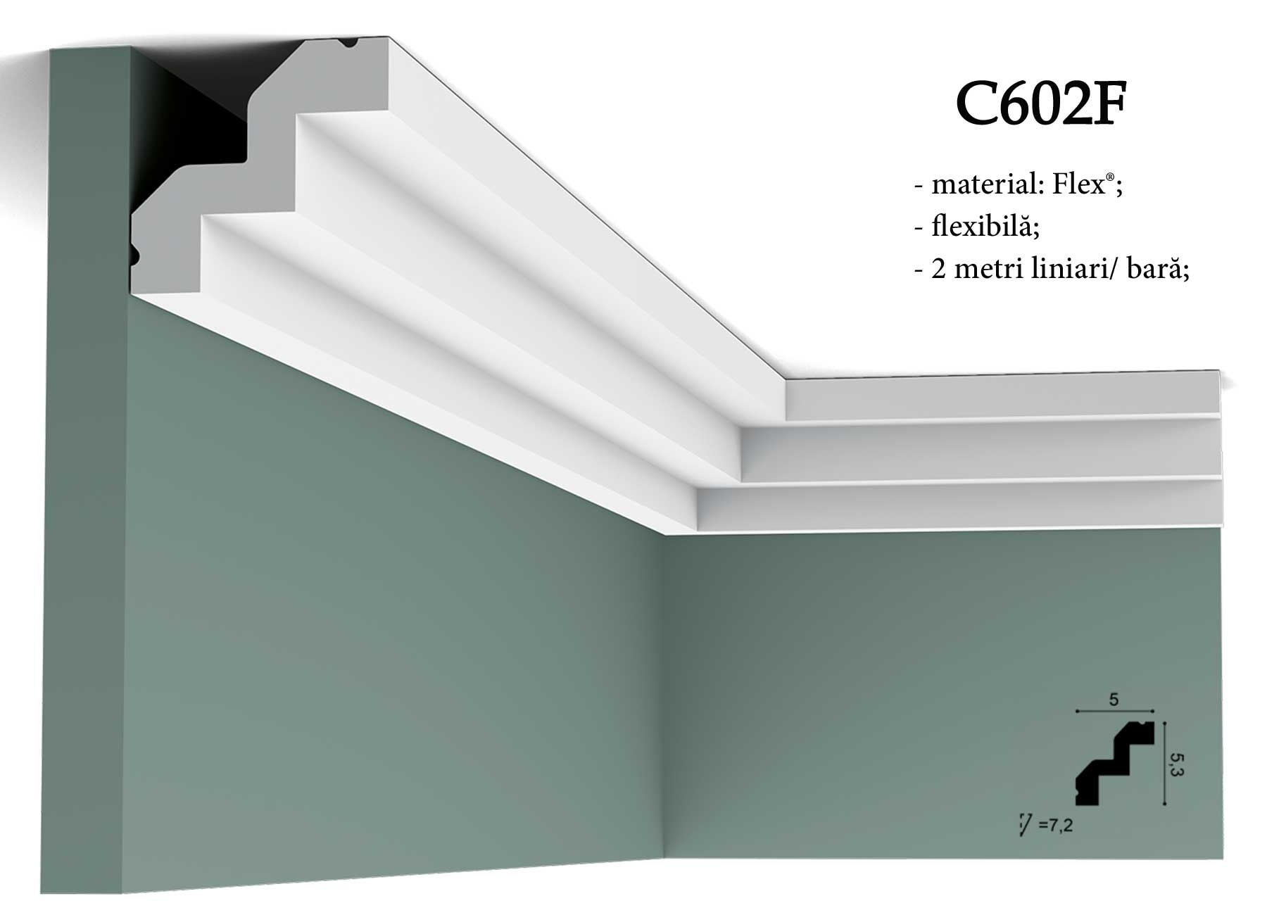 C602F Cornisa decorativa pentru tavan Orac Decor.