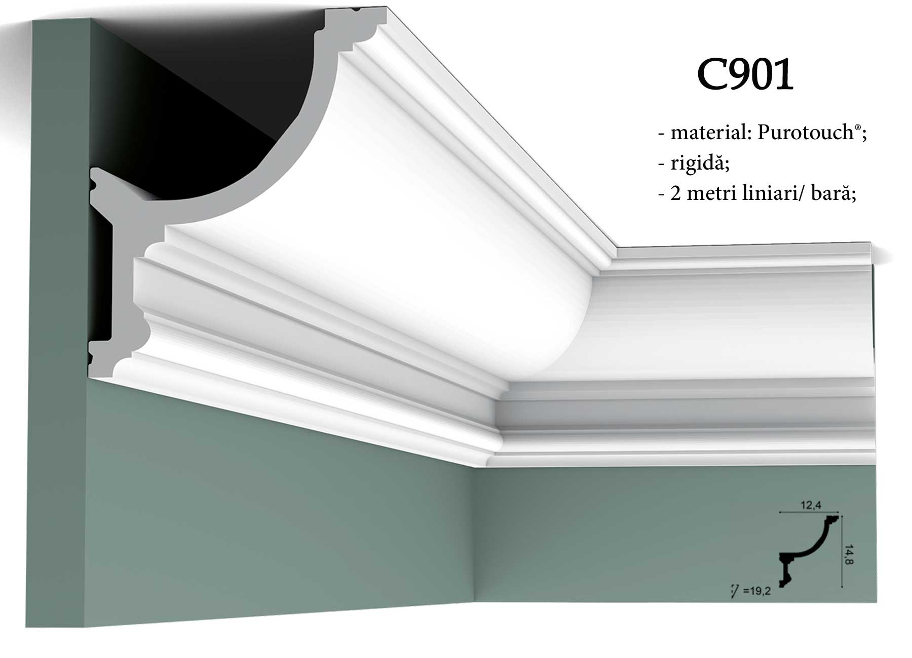 C901 cornisa decorativa pentru tavan Orac Decor.