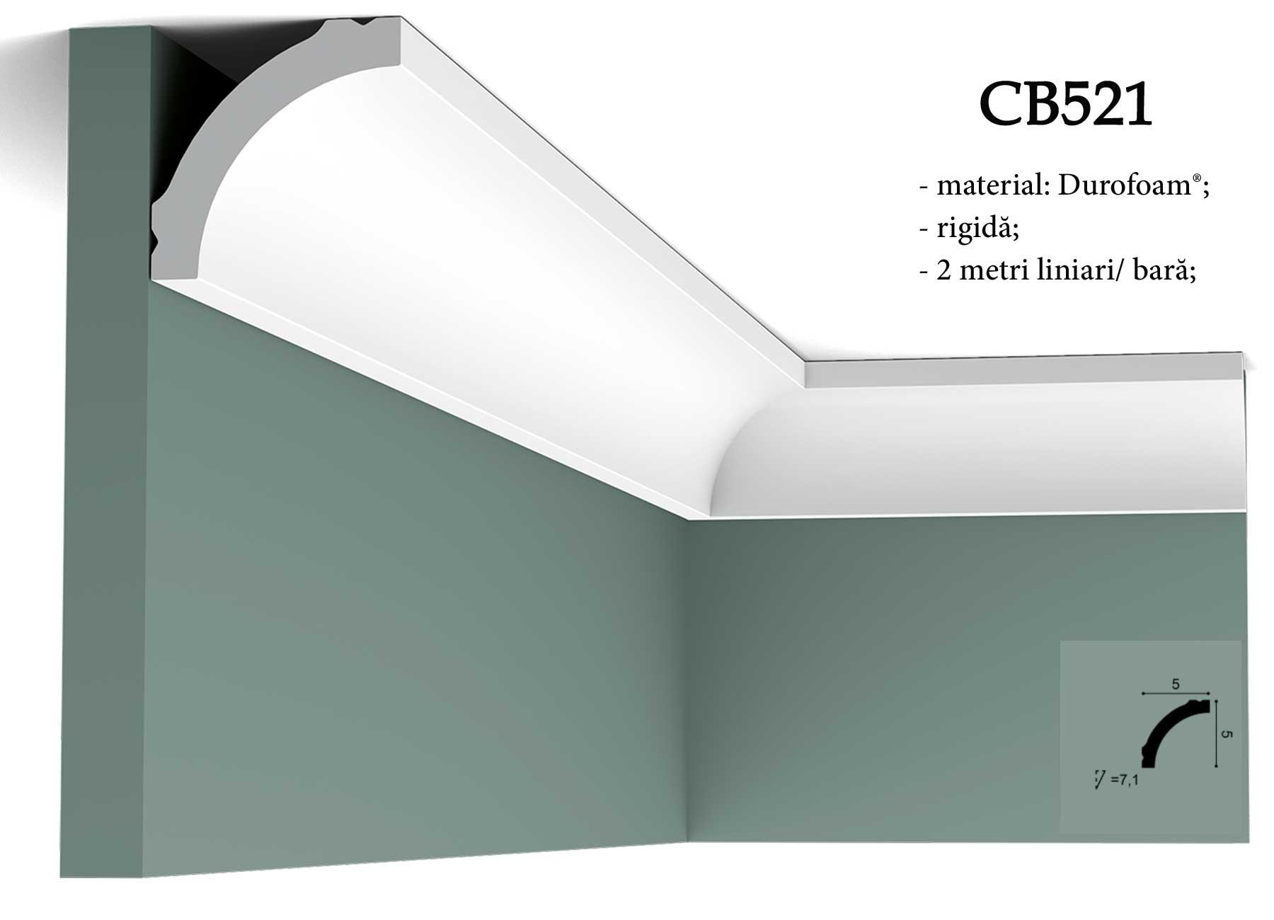 CB521 Bagheta decorativa pentru tavan Orac Decor.