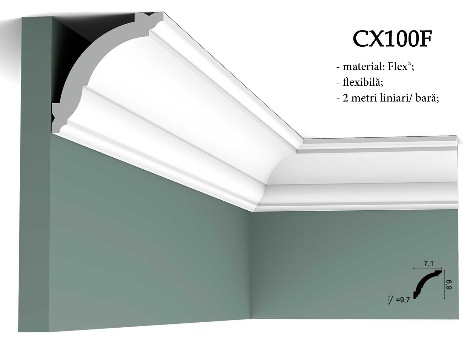 CX100F Cornisa flexibila decorativa pentru tavan Orac Decor.