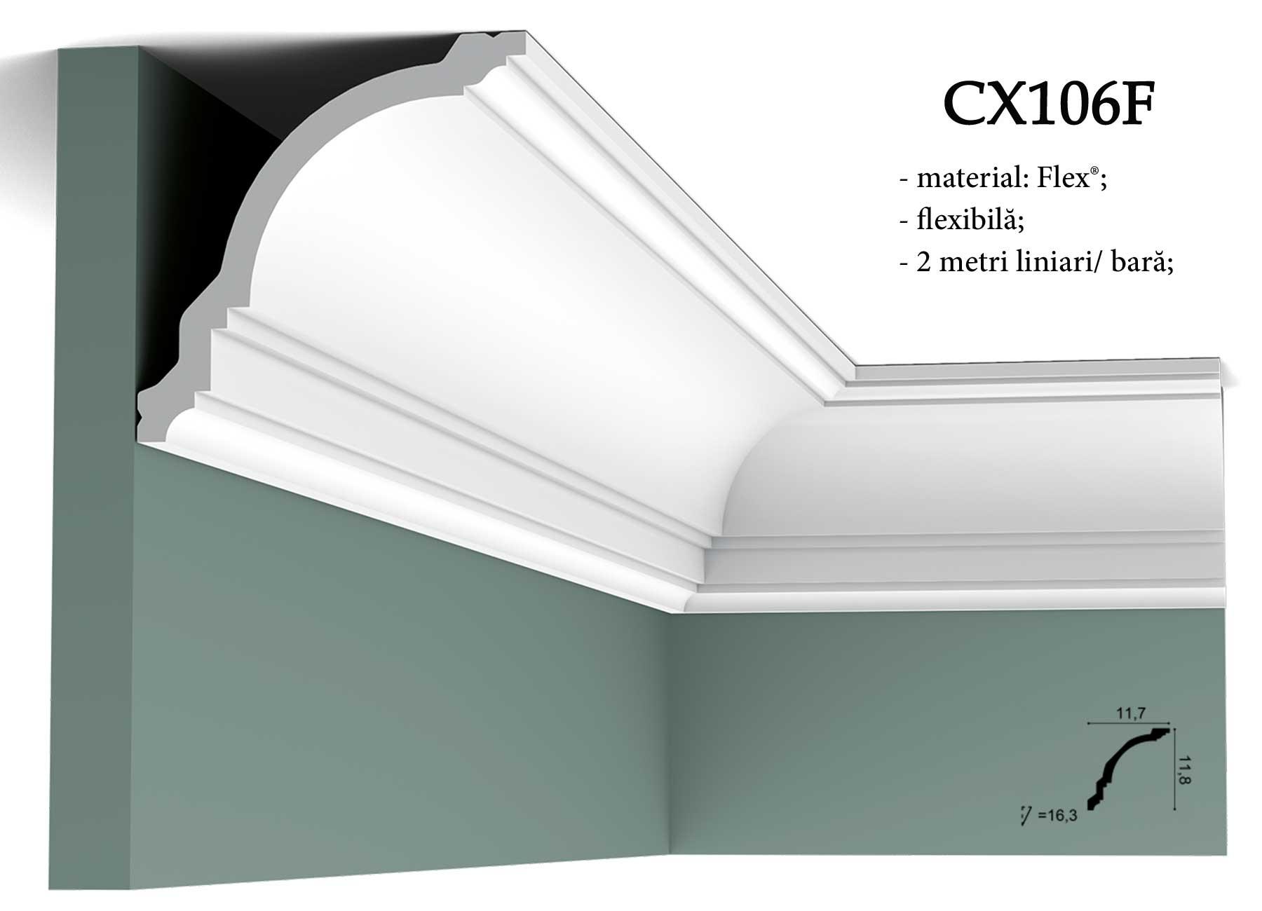 CX106F cornisa flexibila decorativa pentru tavan Orac Decor.