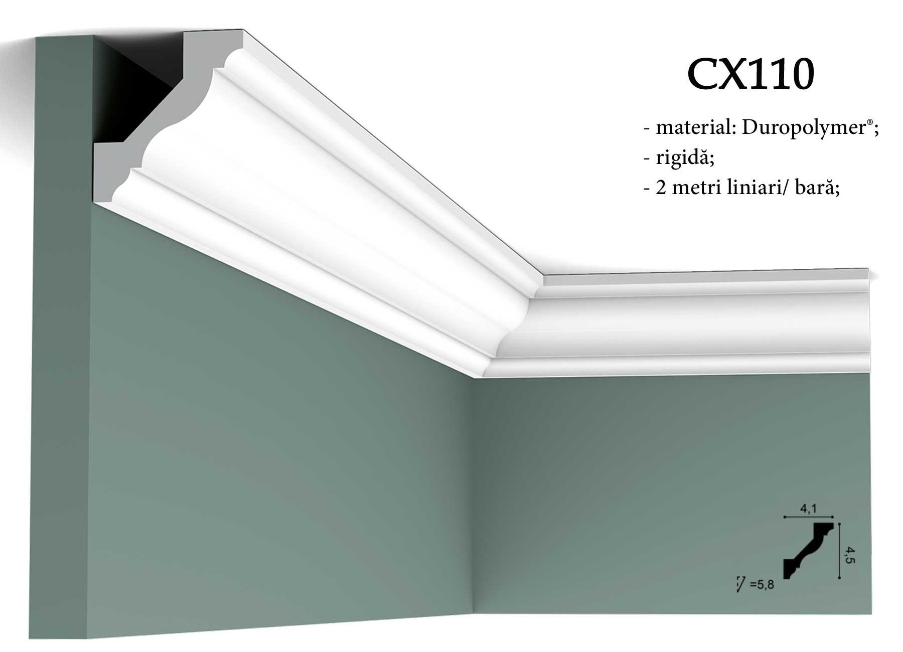 Cornisa decorativa pentru tavan CX110 Orac Decor. Terminatie tapet.