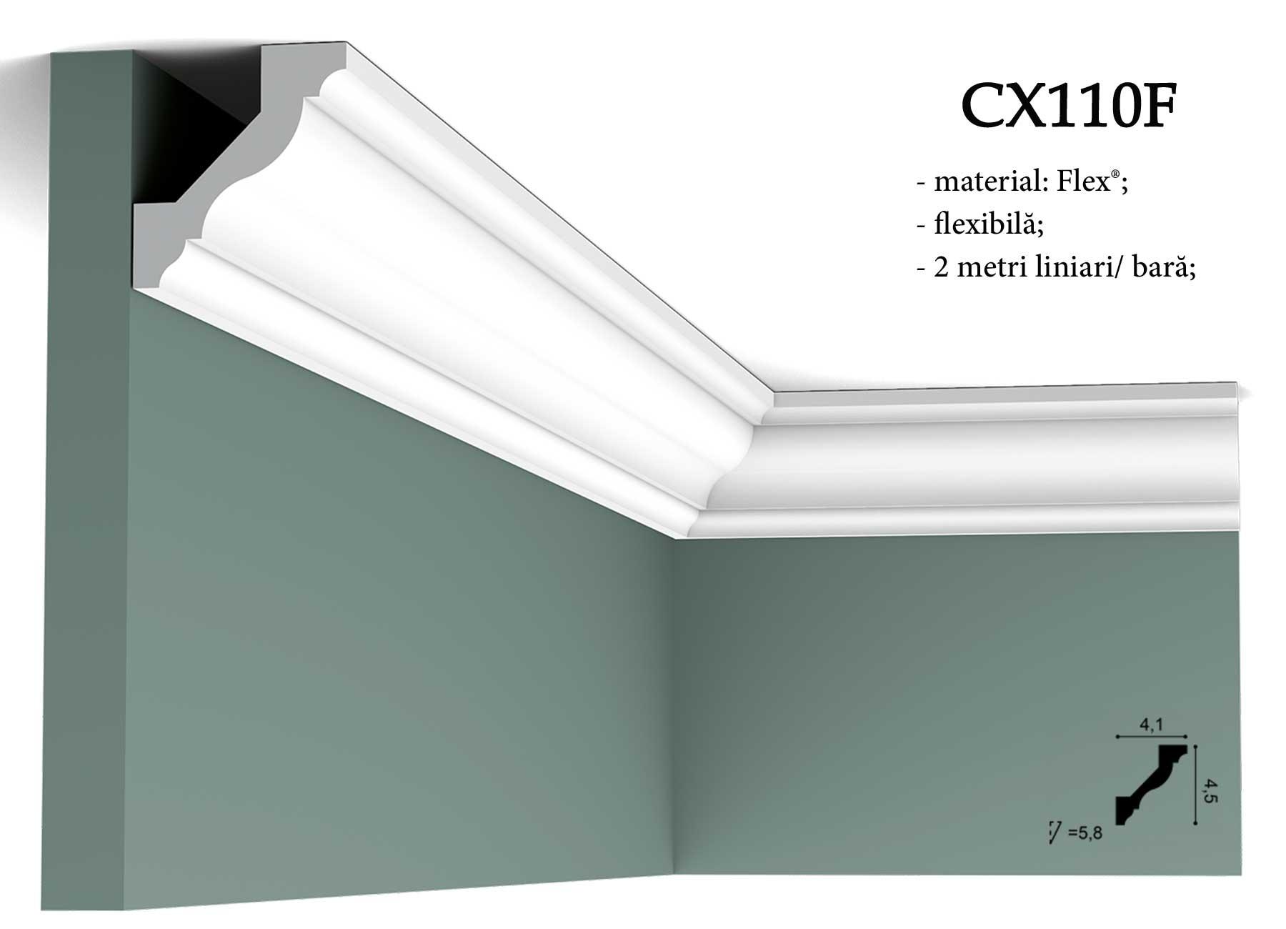 Cornisa decorativa flexibila pentru tavan CX110F Orac Decor. erminatie tapet.