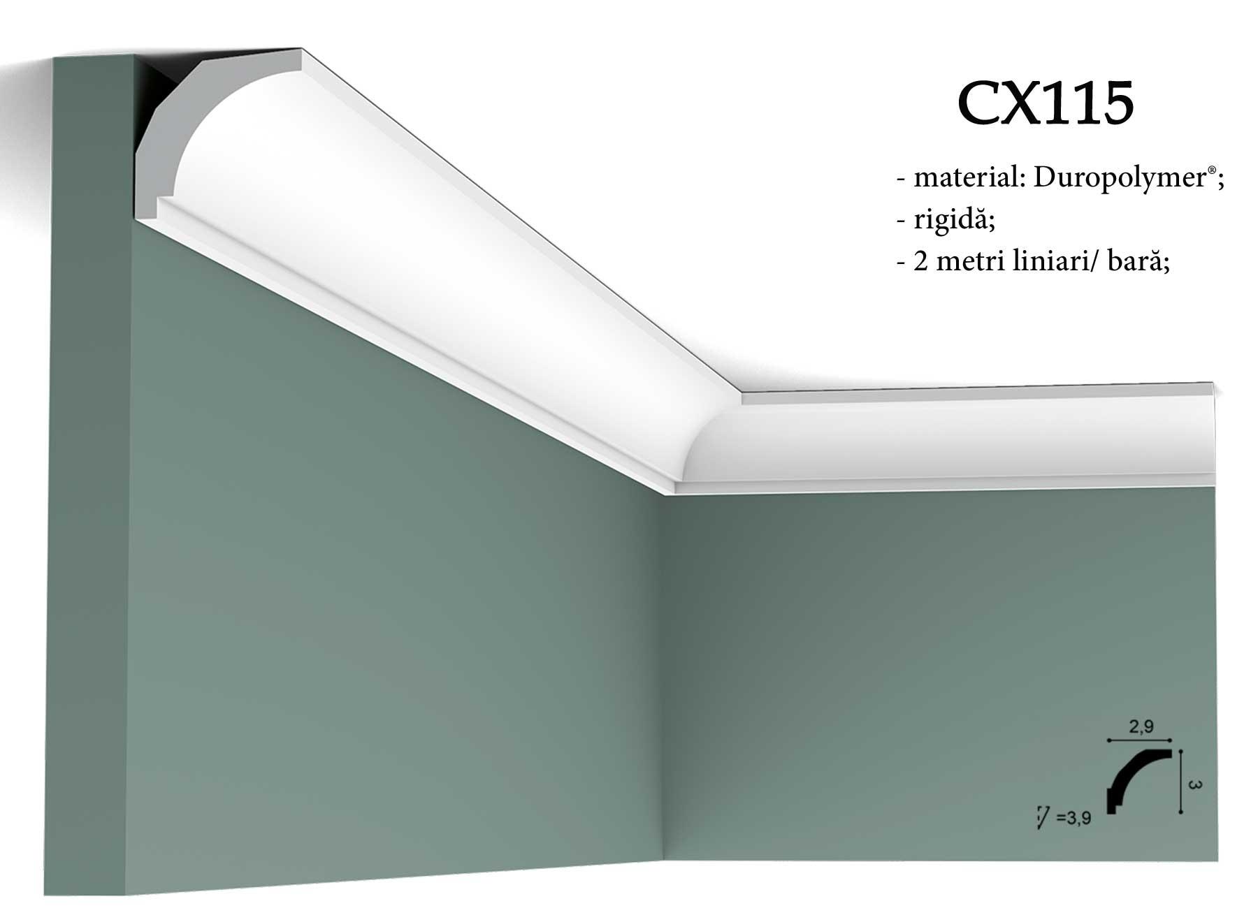 Cornisa decorativa CX115 pentru tavan Orac Decor.