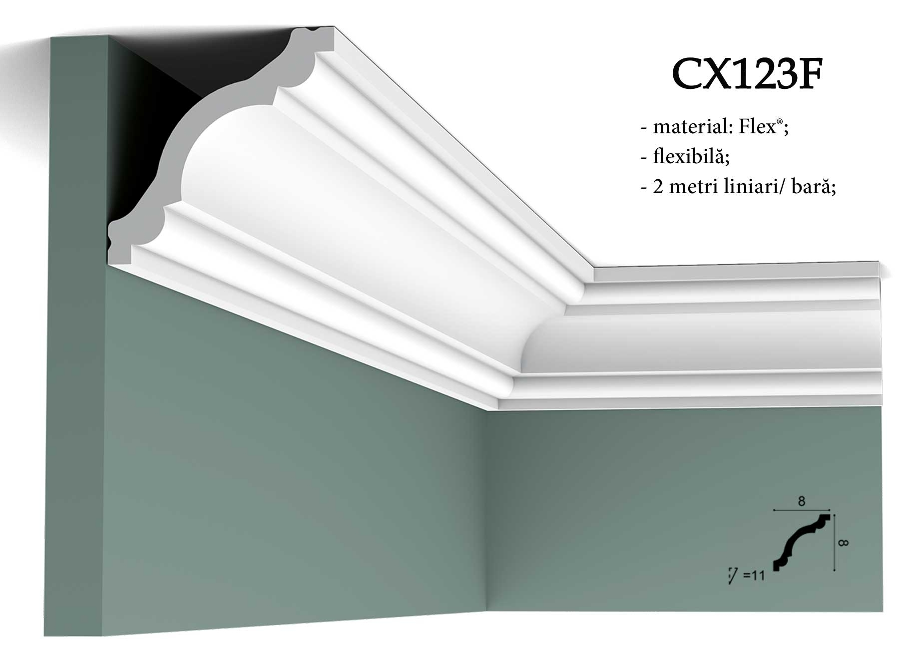 CX123F cornisa decorativa pentru tavan Orac Decor. Terminatie tapet.