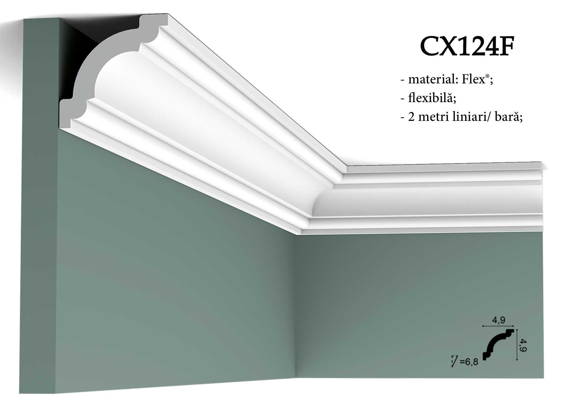 CX124F cornisa decorativa pentru tavan Orac Decor. Terminatie tapet.