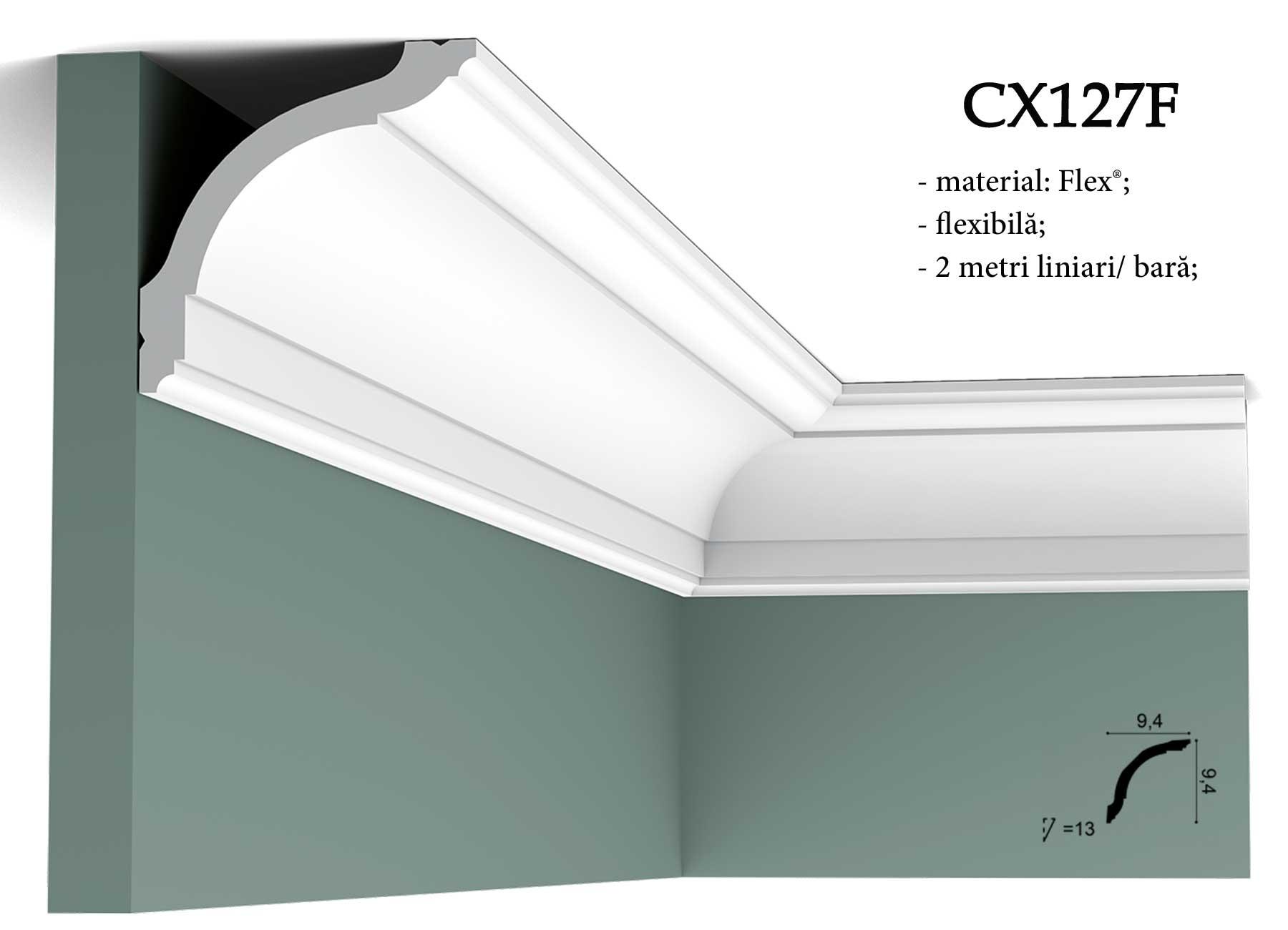 Cornisa decorativa flexibila pentru tavan CX127F Orac Decor.
