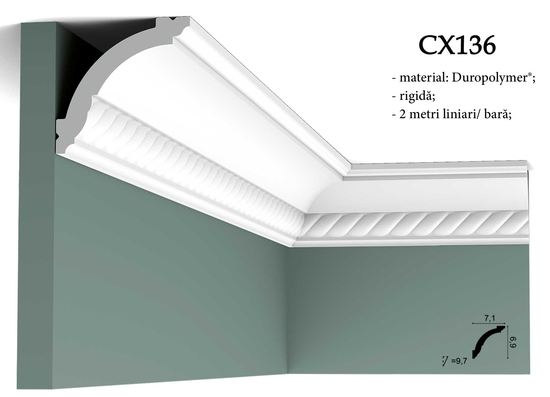 Cornisa decorativa pentru tavan Orac Decor CX136