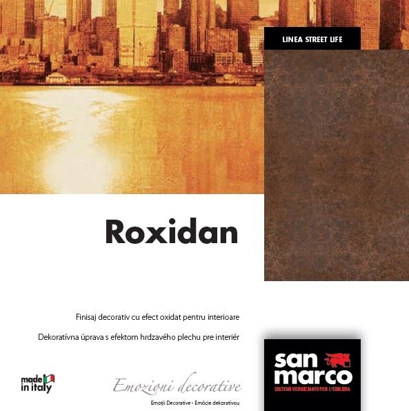 Vopsea lavabila decorativa cu aspect de metal gama ROXIDAN productie SAN MARCO.