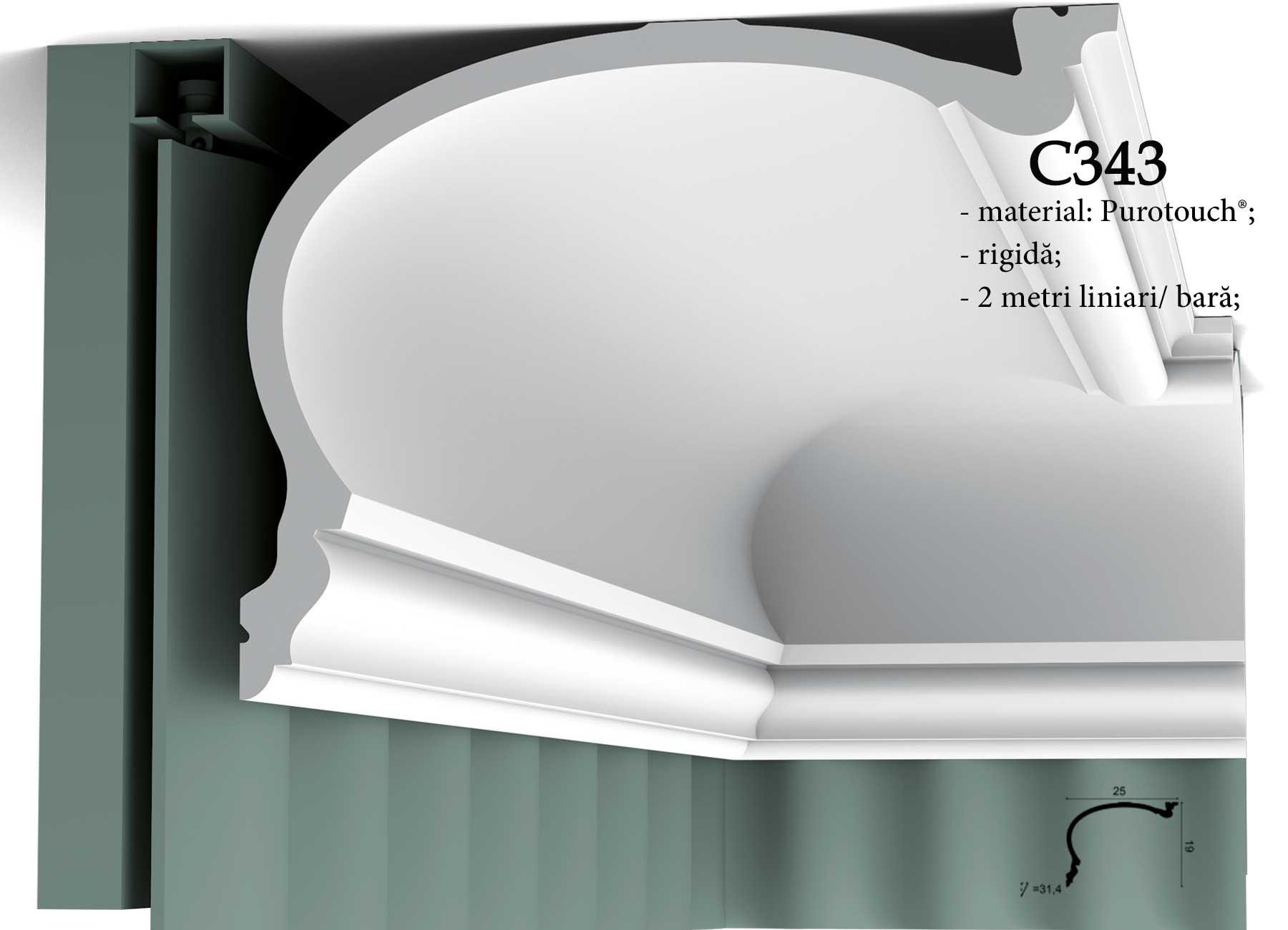 Profil decorativ pentru draperie Orac Decor C343.