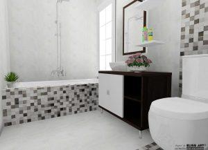 faianta tip mozaic, faianta baie, idei amenajare, amenajare baie