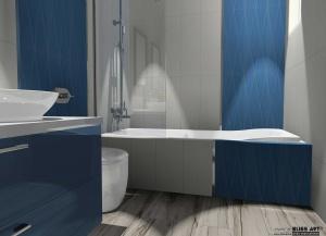 amenajare baie cu faianta albastra