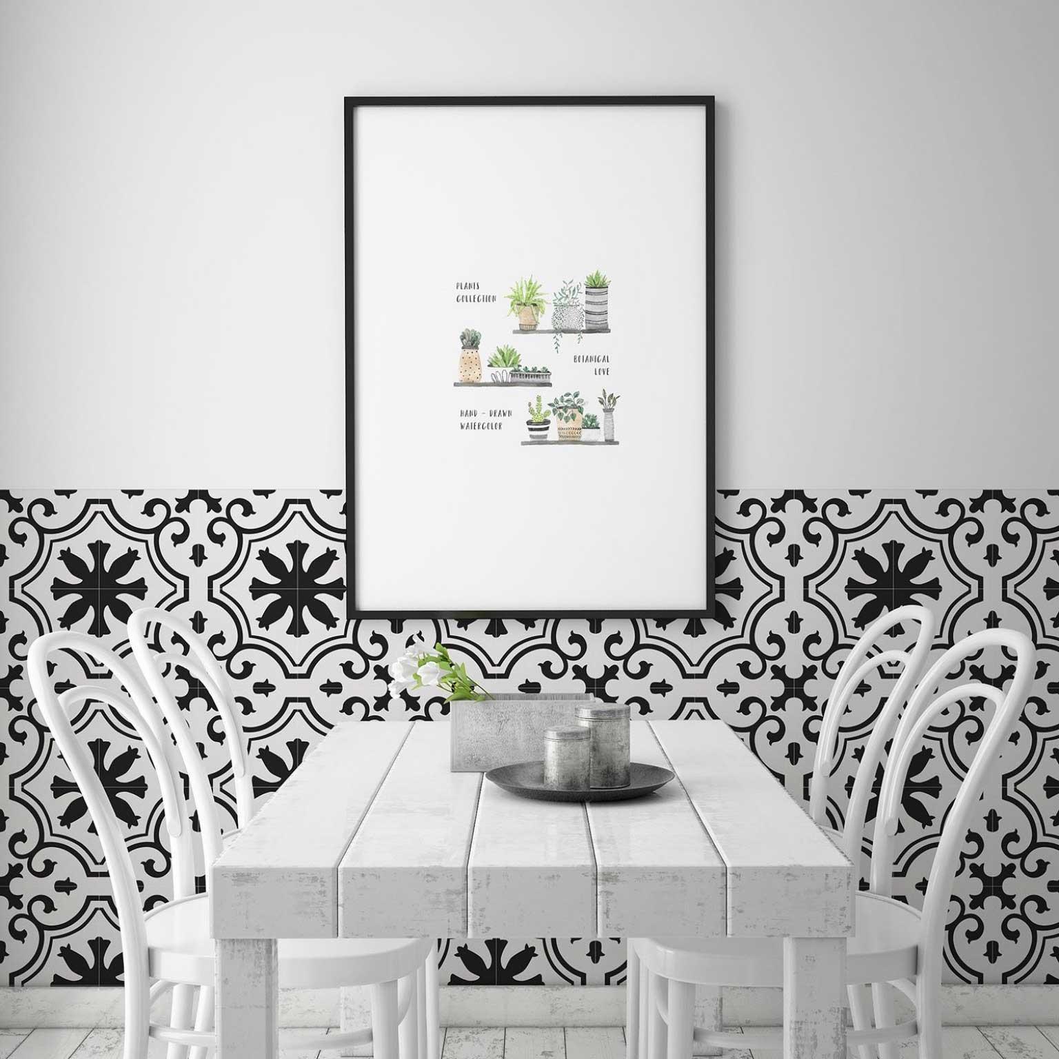 faianta decor patchwork alb negru