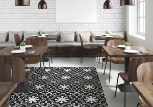 gresie stil covor patchwork alb negru 25x25cm