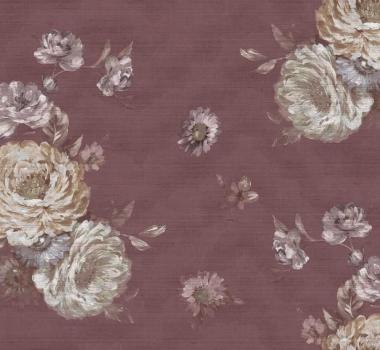 Tapet rosu cu trandafiri Poesia Italiana cod 5238; repetare model: 70 cm