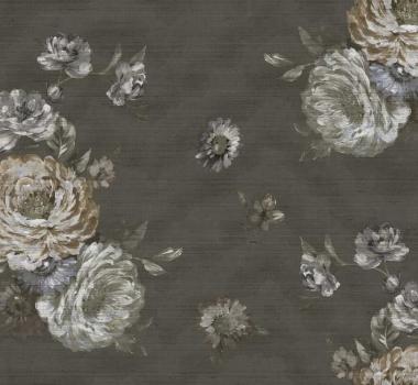 Tapet negru cu trandafiri Poesia Italiana cod 5239; repetare model: 70 cm