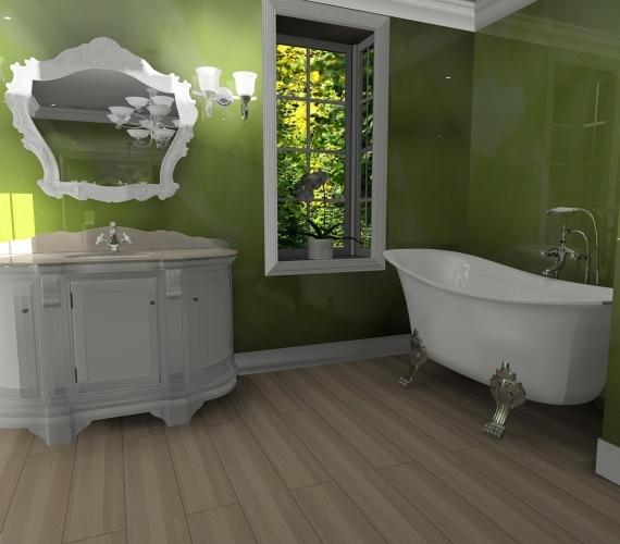 BLISS-ART-DESIGN---amenajare-baie-cu-Stucco-Veneziano-culoare-verde