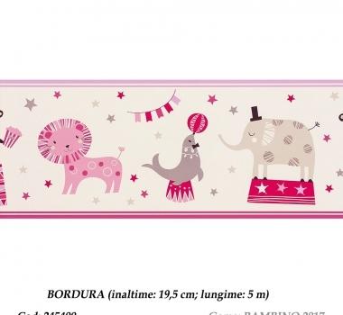 Bordura-tapet-animalute-roz-pentru-copii-BAMBINO-2017-cod-245400