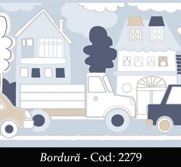 Bordura tapet copii albastru cu masinute cod 2279 gama BIM BUM BAM - BLISS ART