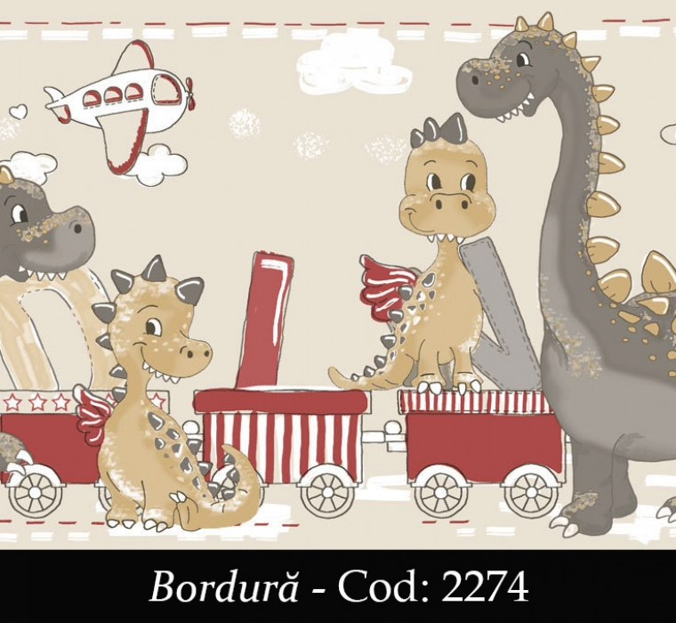 Bordura tapet copii cu dinozauri cod 2274 gama BIM BUM BAM - BLISS ART