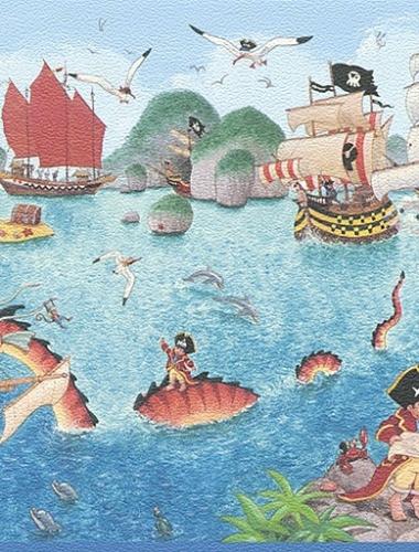 Latime bordura: 25 cm - Bordura tapet copii model pirati  gama VILLA COPENRATH