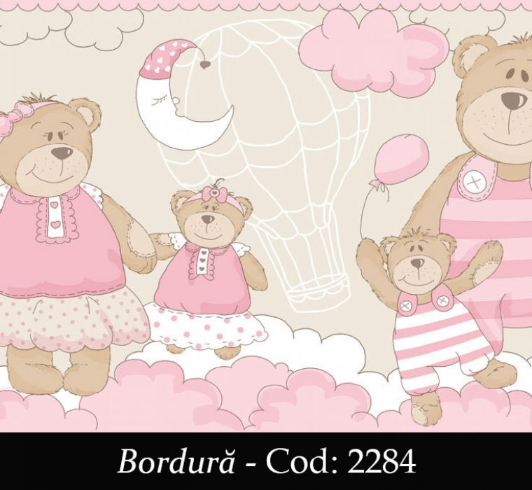 Bordura tapet copii model roz cu ursuleti cod 2284 gama BIM BUM BAM - BLISS ART