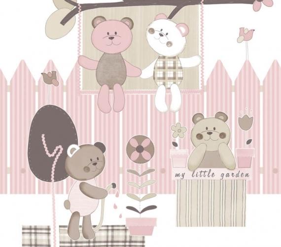 COD CB1394 - Bordura tapet roz cu ursuleti  pentru copii, gama CIAO BIMBI.