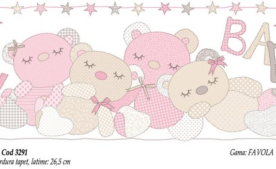 Bordura-tapet-cu-ursuleti-roz-pentru-copii-gama-FAVOLA-cod-3291