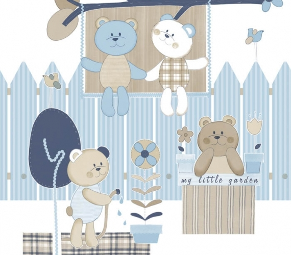 COD CB1396 - Bordura tapet albastru cu ursuleti pentru copii, gama CIAO BIMBI.