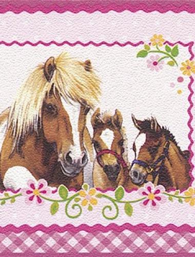 Latime bordura: 17 cm - Bordura tapet pentru copii model cai  gama VILLA COPENRATH