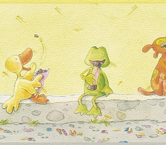 Latime bordura: 17 cm - Bordura tapet pentru copii model cu broscute  gama VILLA COPENRATH