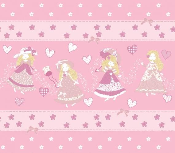 COD CB1363 - Bordura tapet lavabil pentru fetite, culoare roz, model cu printese, gama CIAO BIMBI.