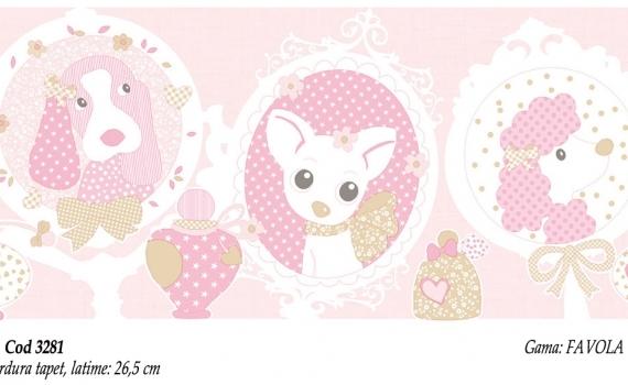 Bordura-tapet-roz-pentru-copii-model-catei-gama-FAVOLA-cod-3281