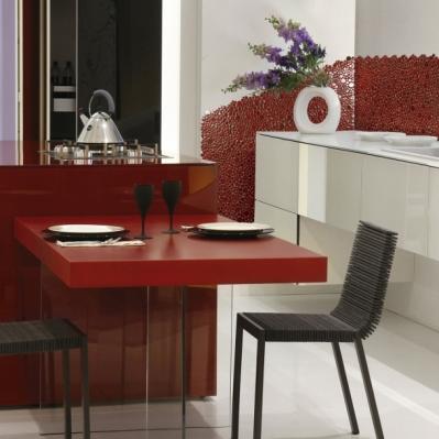 Bucatarie amenajata cu mozaic rosu din marmura - BLISS ART DESIGN