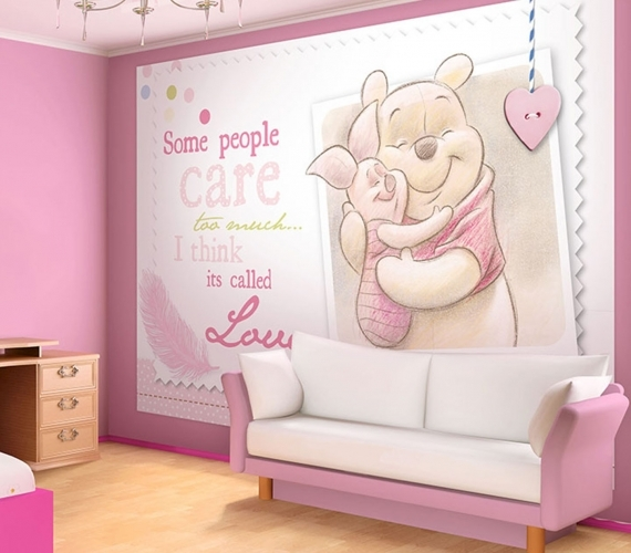COD 1492 VE - Fototapet pentru copii Winnie Pooh si  Piglet  ambient