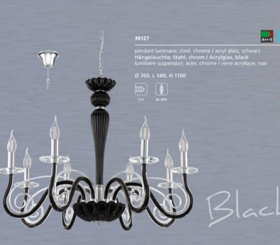 Candelabru negru din sticla EGLO cod 39127 Black